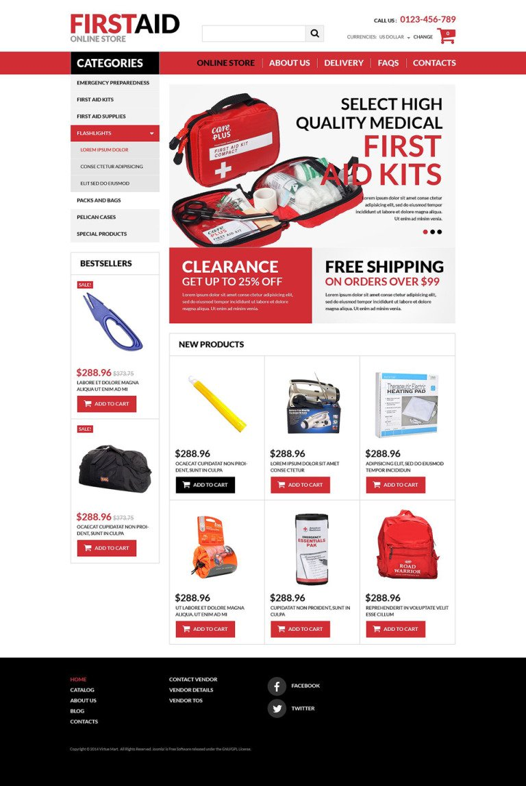First Aid Store VirtueMart Template New Screenshots BIG