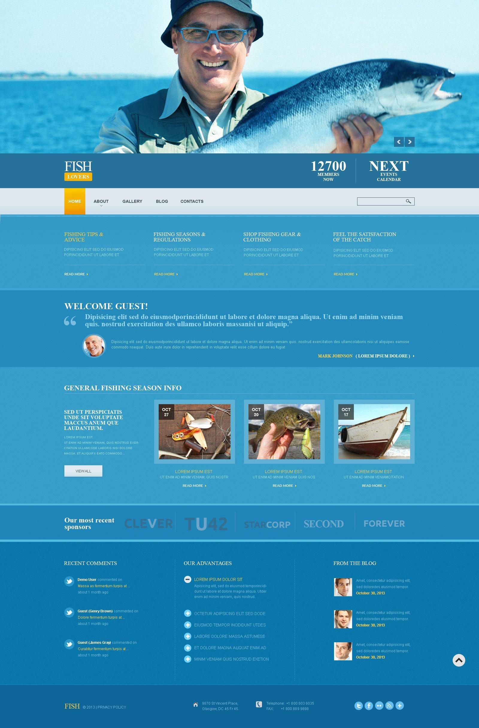 Fishing Responsive Joomla Template - screenshot