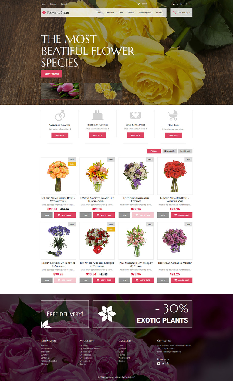 Flowers Store PrestaShop Theme New Screenshots BIG