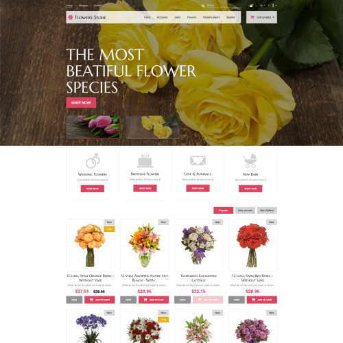 Flowers Store - PrestaShop Template based on Bootstrap