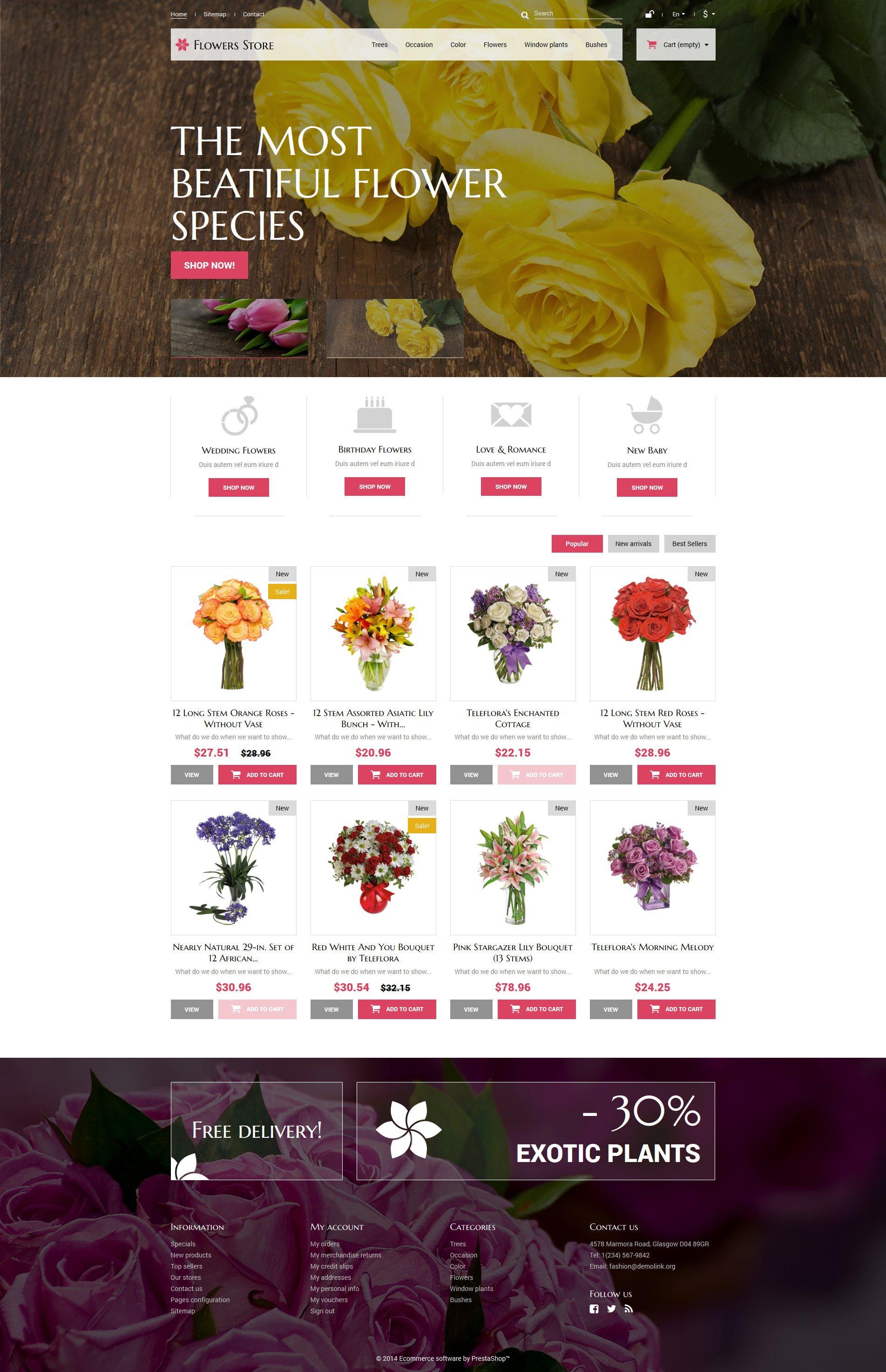 Flowers Store Tema PrestaShop №52387