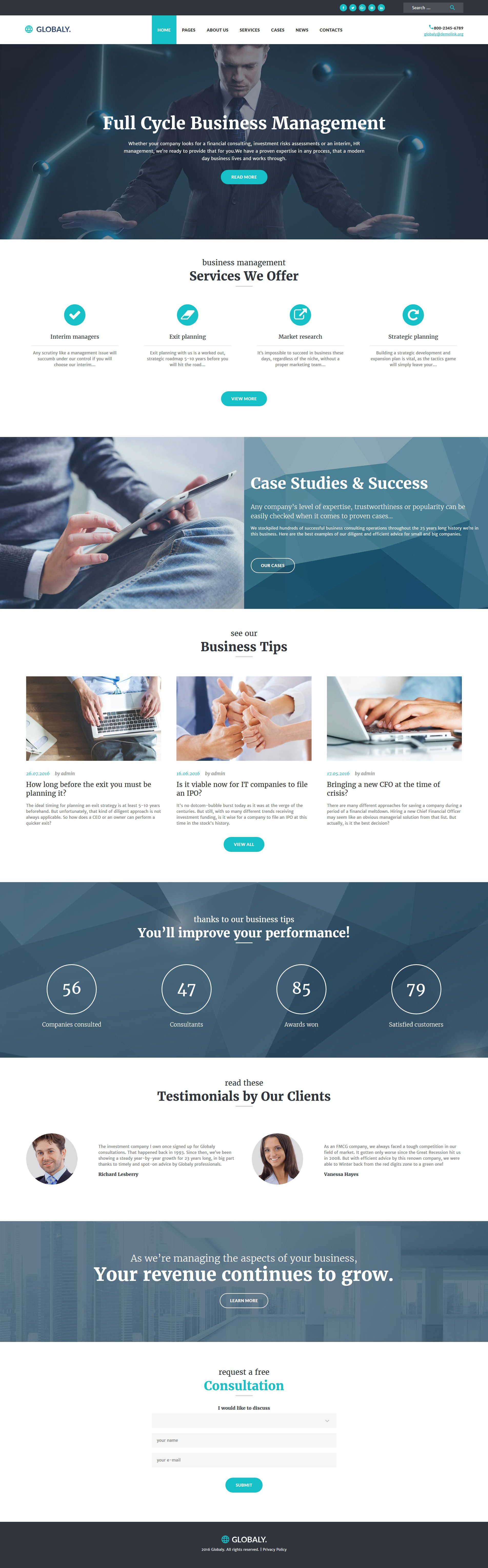 Globaly - Full Cycle Business Management & Consulting Responsive WordPress Theme - screenshot