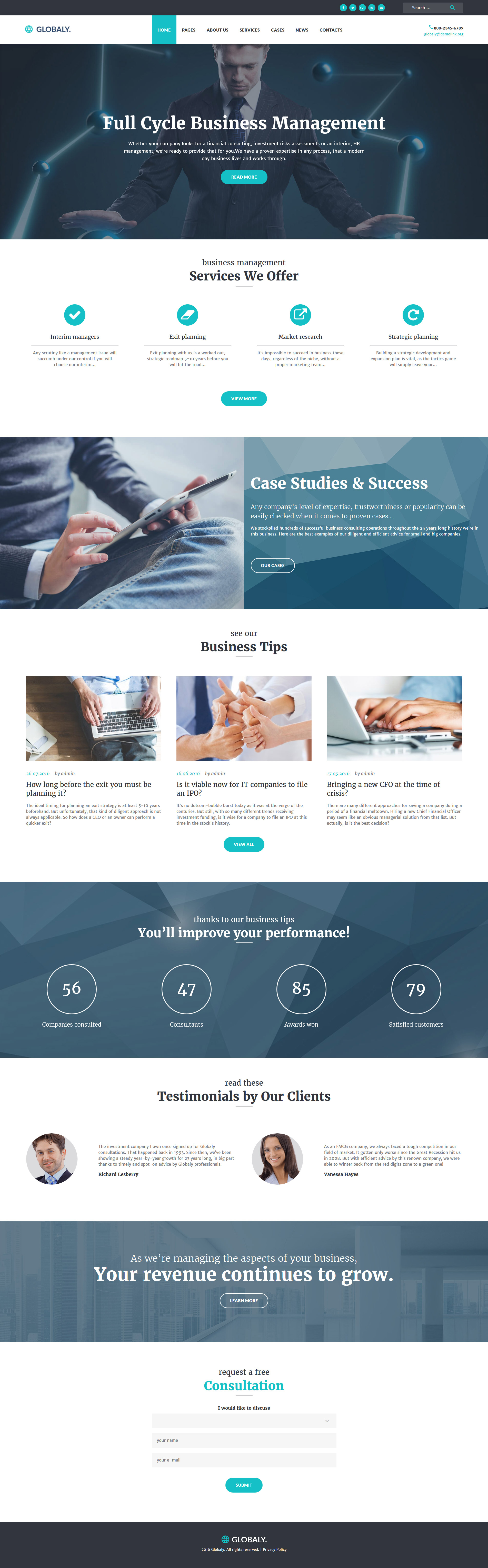 """Globaly - Full Cycle Business Management & Consulting Responsive"" 响应式WordPress模板 #52382 - 截图"