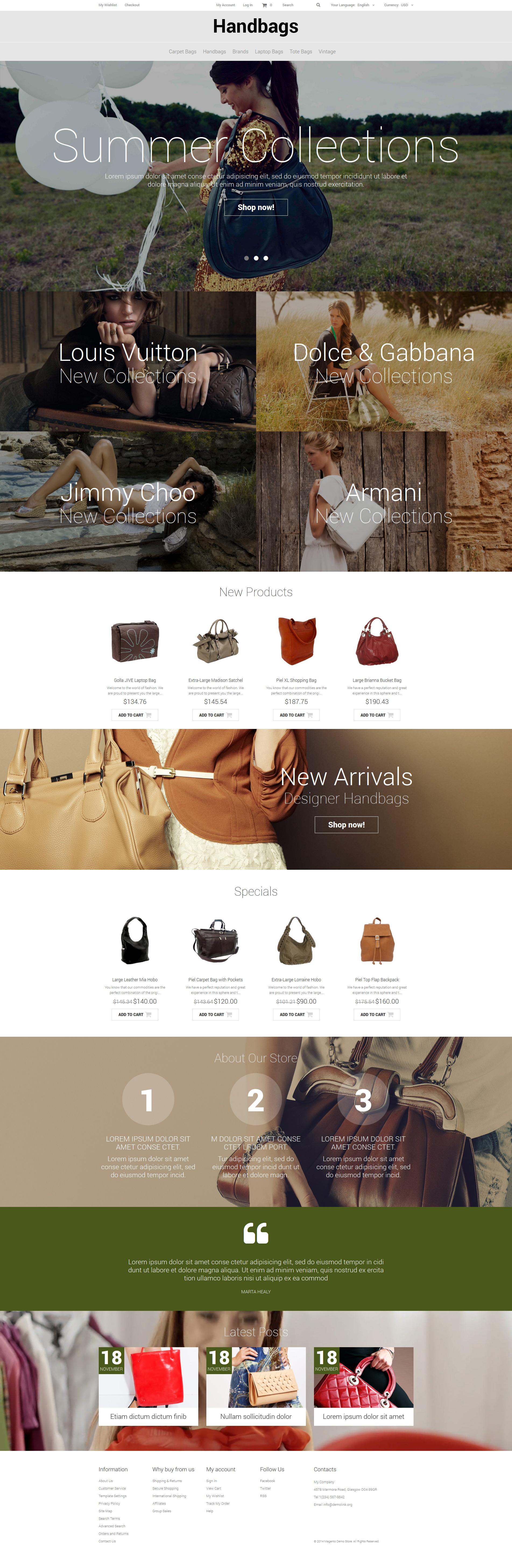Handbag Responsive Magento Theme - screenshot