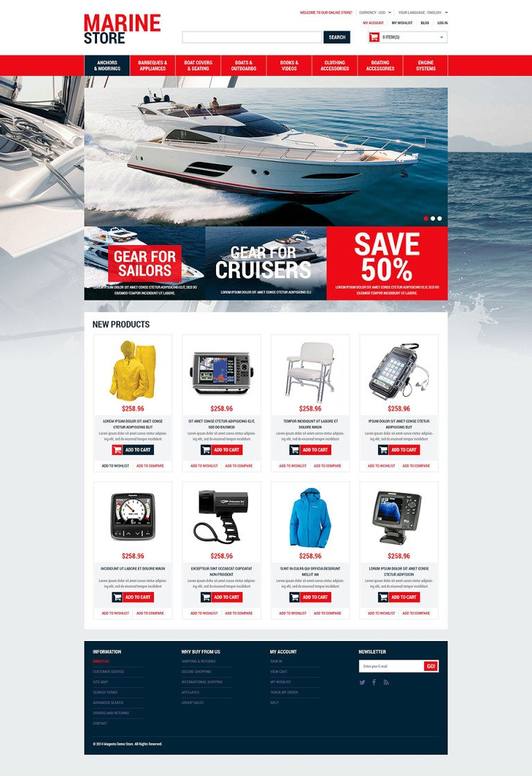 Marine Supplies Magento Theme New Screenshots BIG