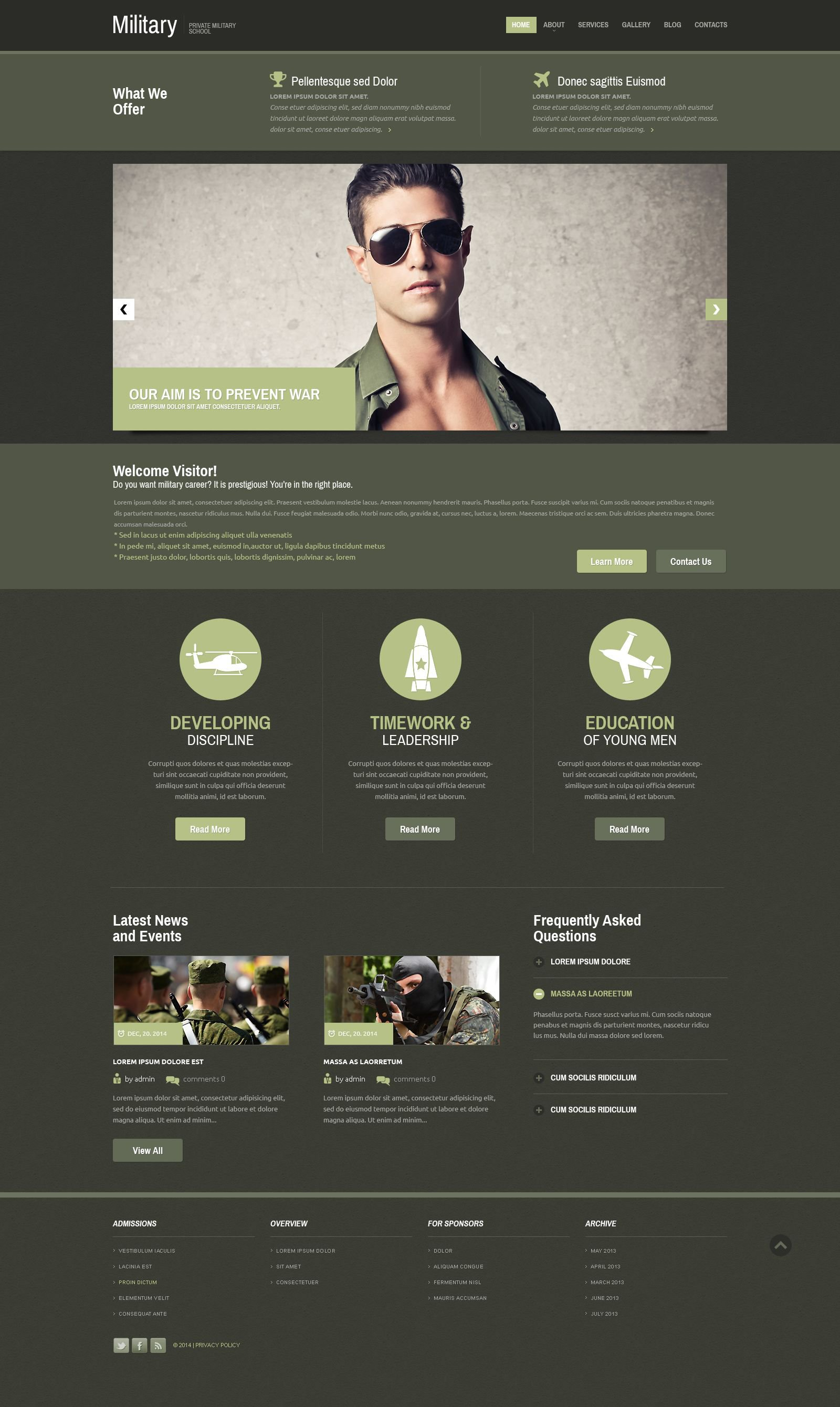 Military Responsive Website Template #52392