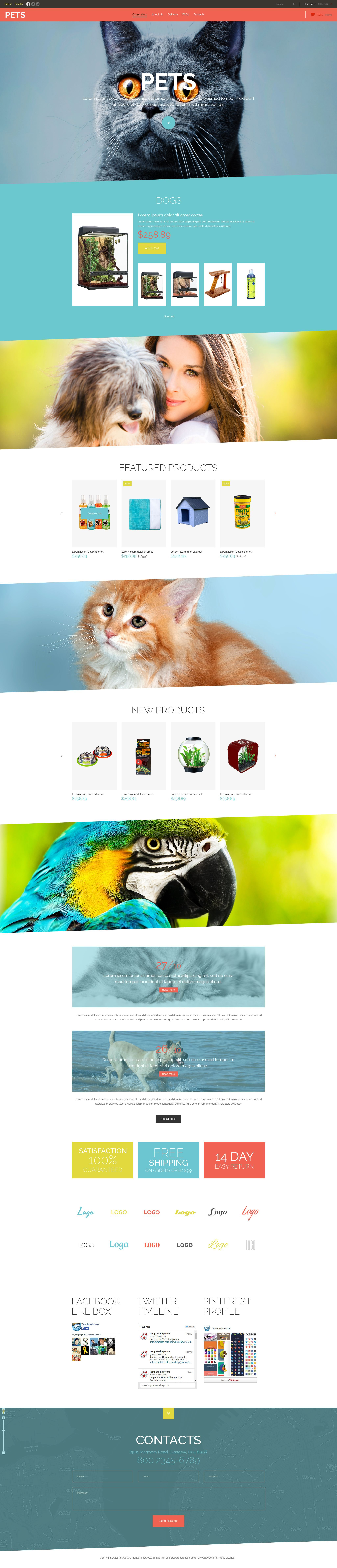 "Modello VirtueMart #52331 ""Pet Store"" - screenshot"