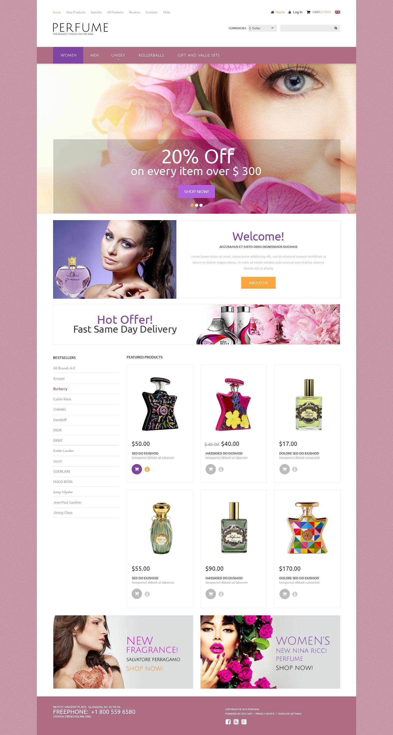 Perfumes Template ZenCart №52366