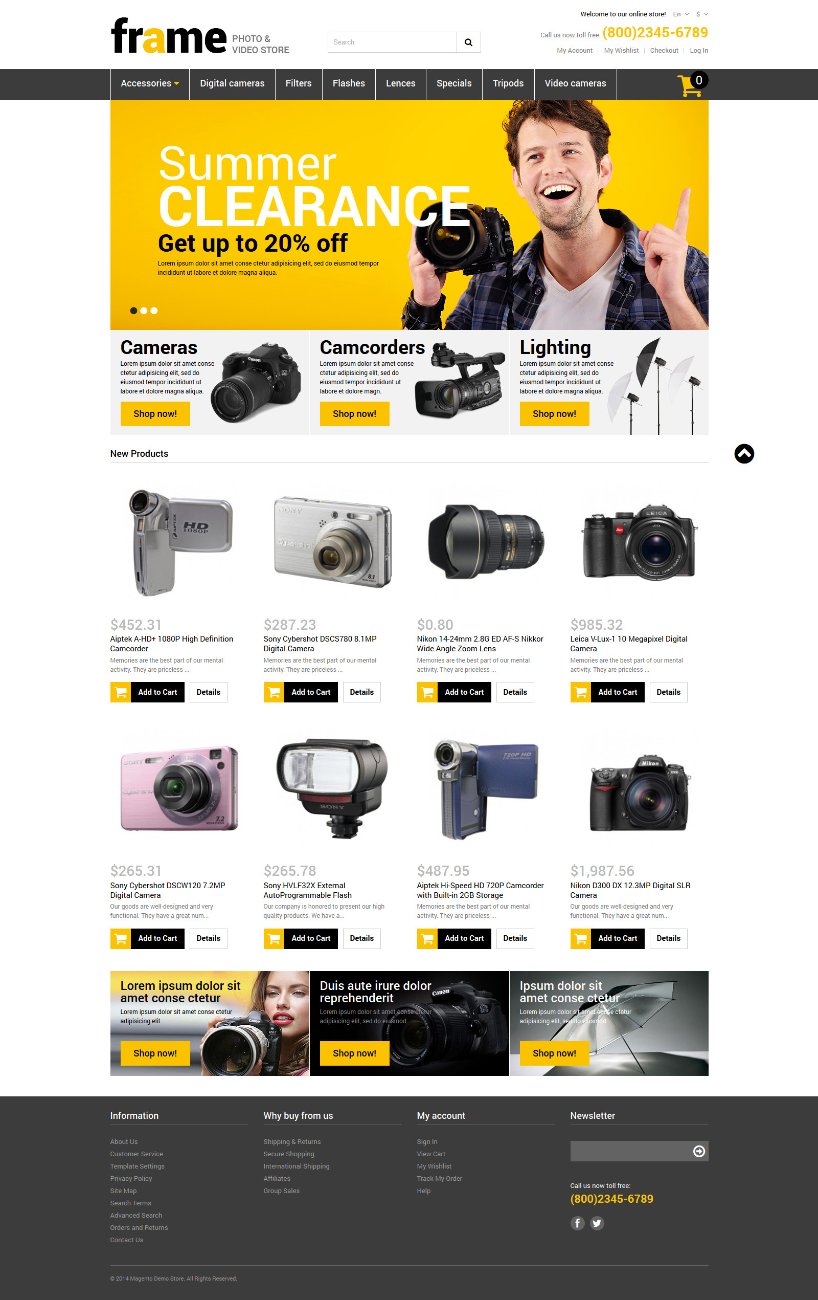 Photography Responsive Magento Theme