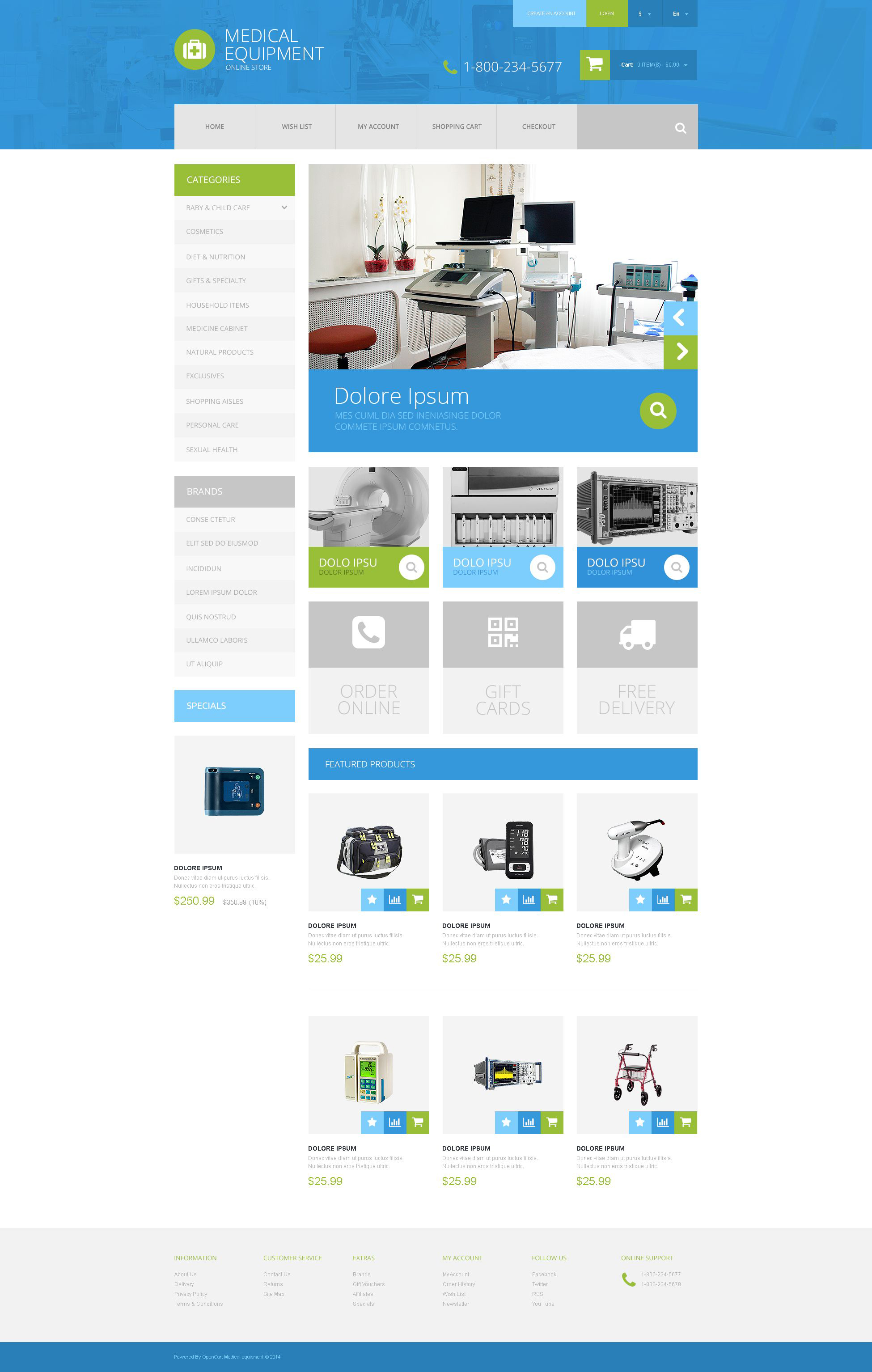 Plantilla OpenCart #52375 para Sitio de Equipos médicos