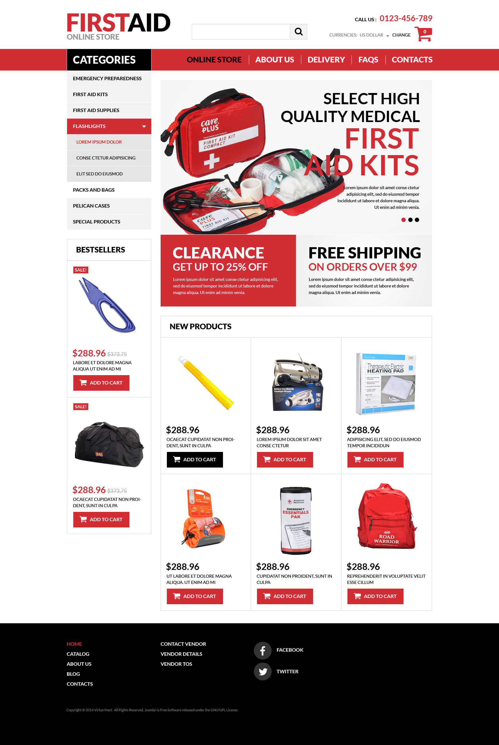 """Plantilla VirtueMart """"Tienda de Accesorios de Primeros Auxilios"""" #52330"""