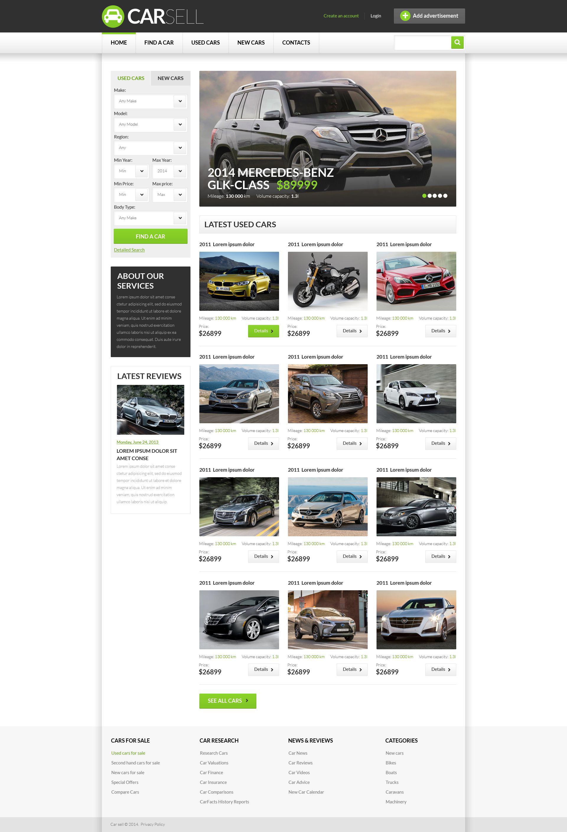 Plantilla Web #52302 para Sitio de Concesionarios de coches