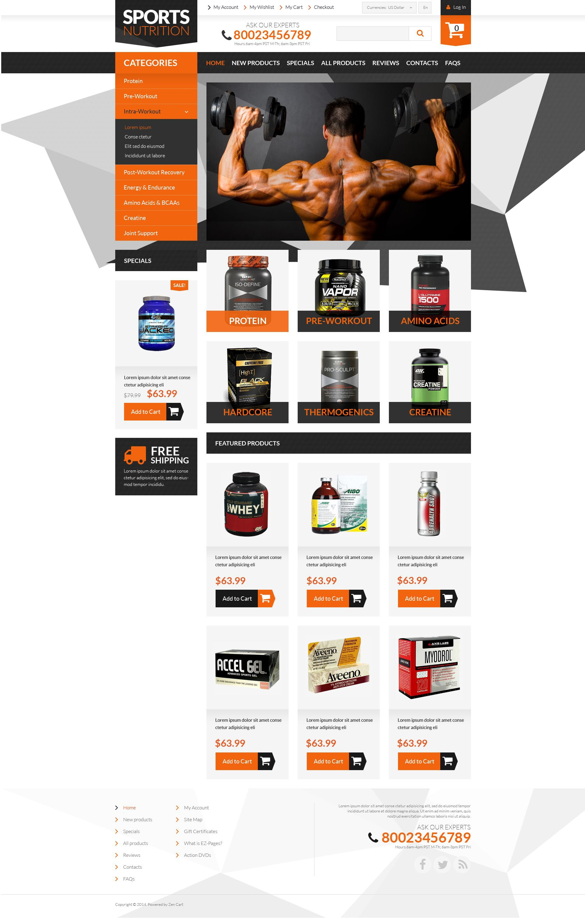 "Plantilla ZenCart ""Bodybuilding Supplements"" #52369"
