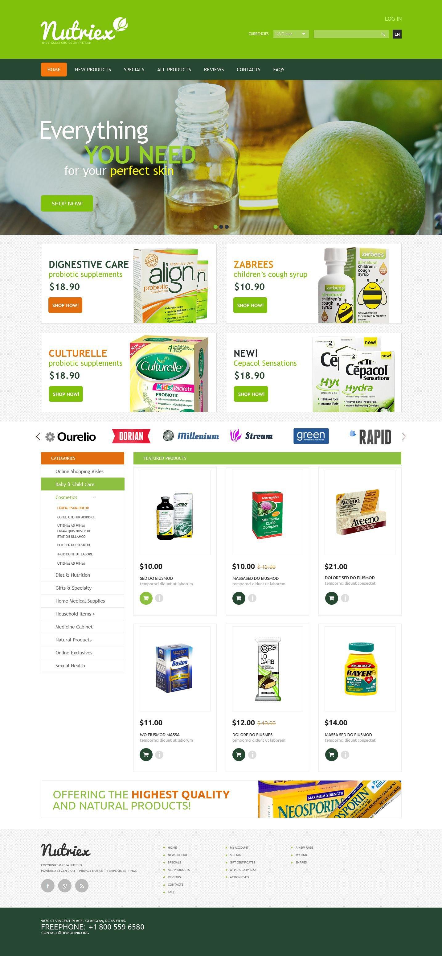 "Plantilla ZenCart ""Skin Care"" #52367"
