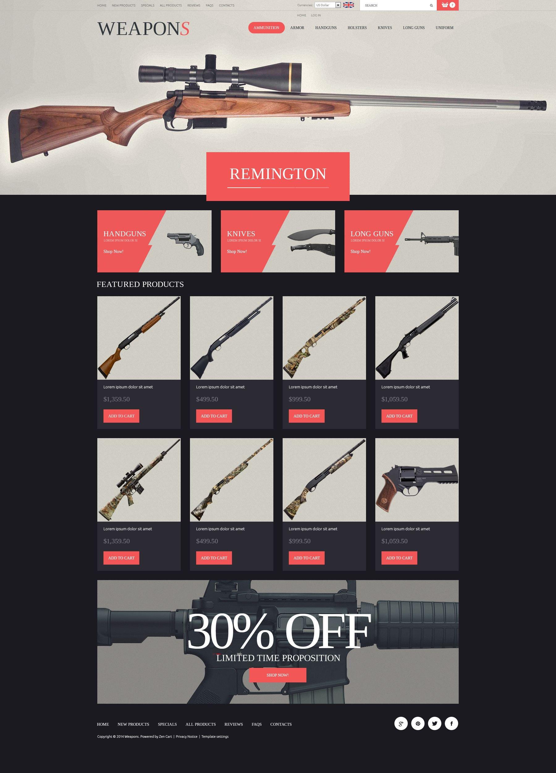 "Plantilla ZenCart ""Weapon Slider"" #52328"