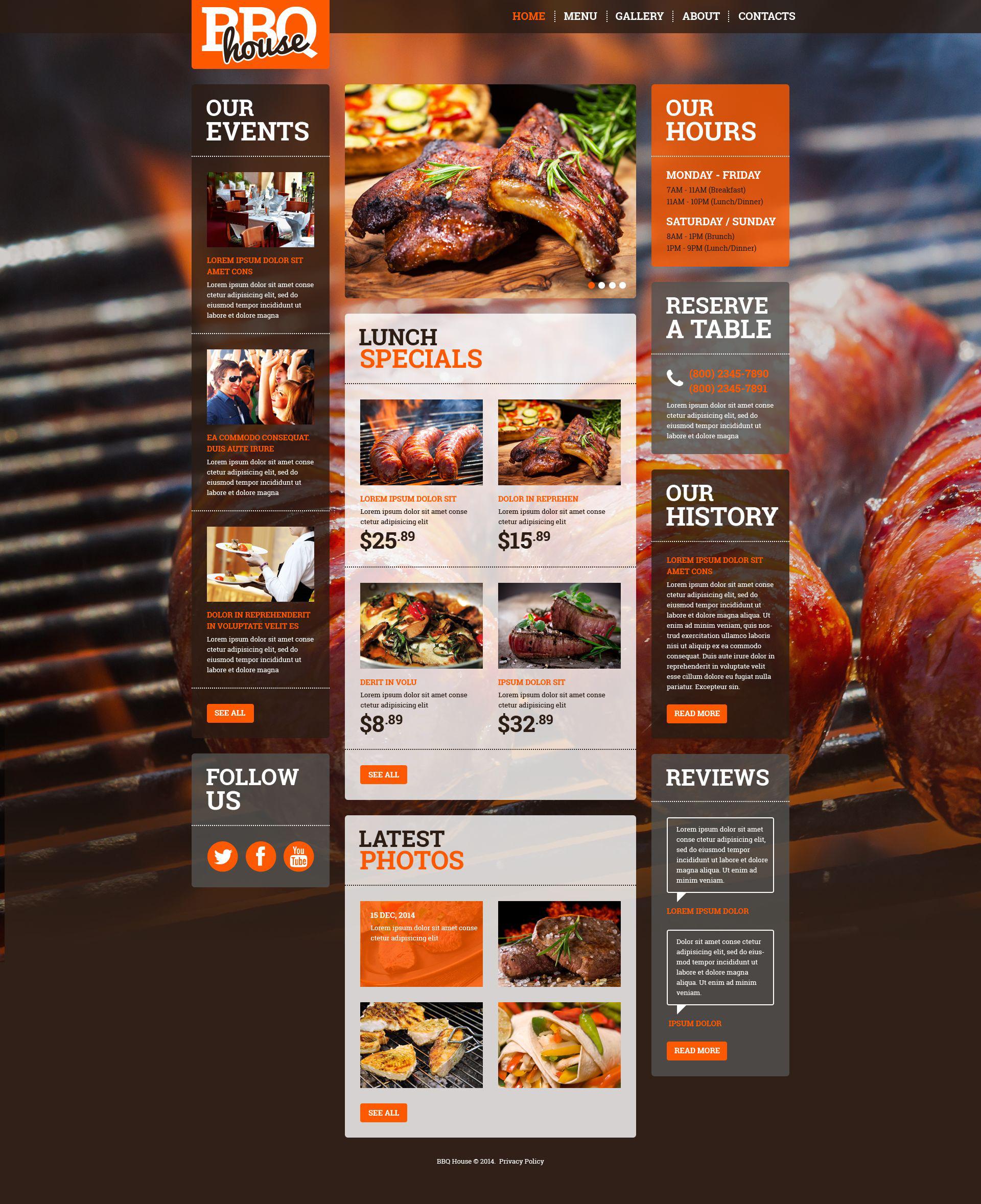 Responsive Website template over BBQ restaurant №52378 - screenshot
