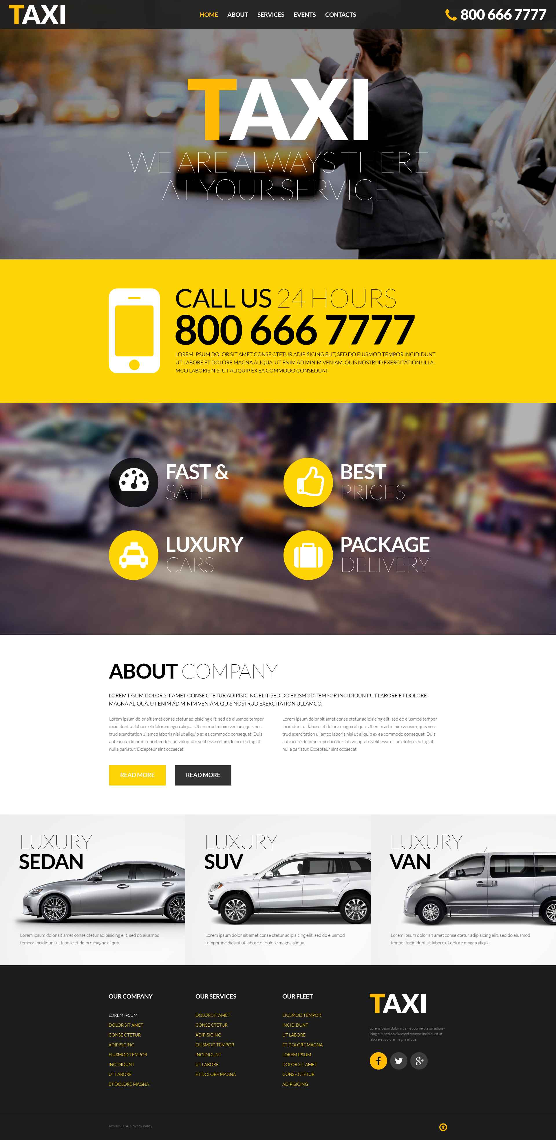 Responsive Website Vorlage für Taxi #52390 - Screenshot