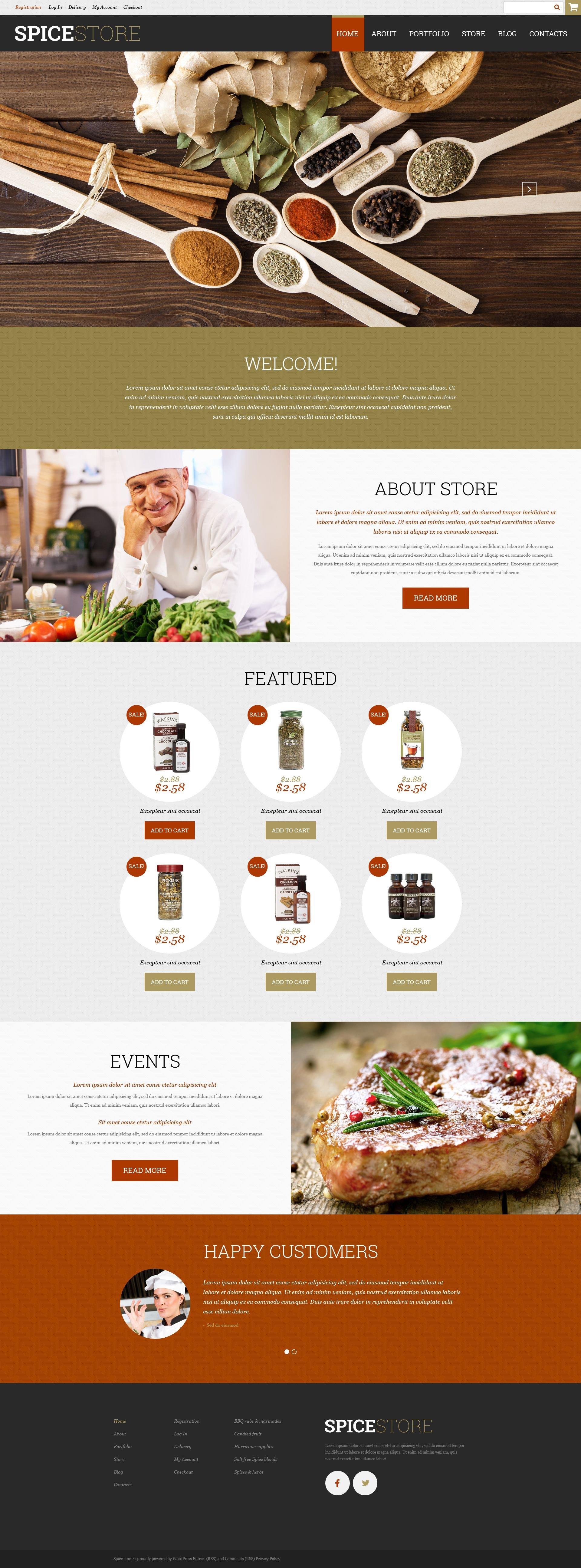 Responsivt Spice Shop WooCommerce-tema #52329 - skärmbild
