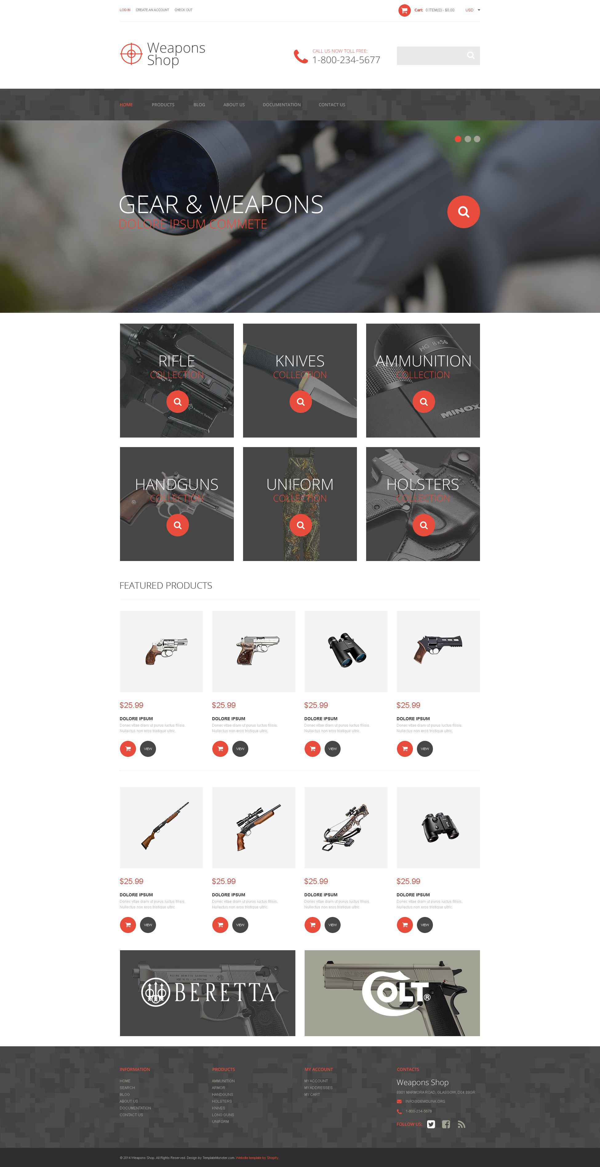 Responsivt Weapon Shop Shopify-tema #52385