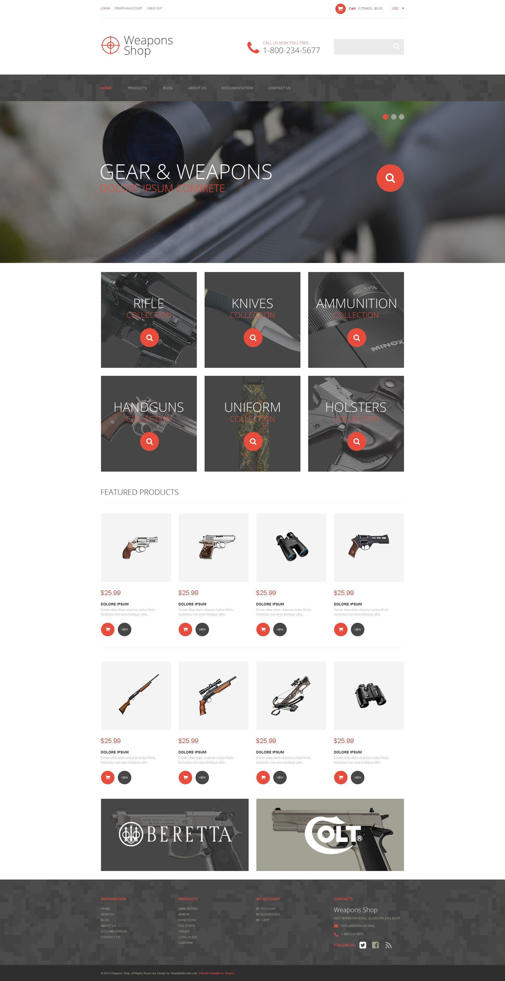 Responsywny szablon Shopify Weapon Shop #52385