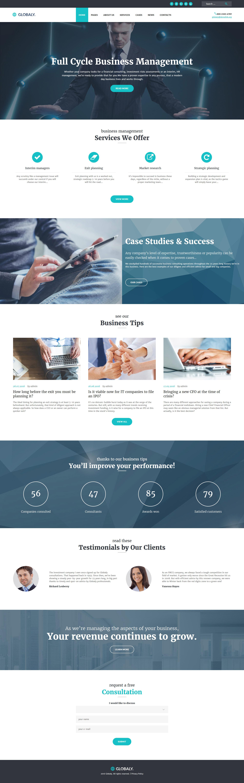 Reszponzív Globaly - teljeskörű Üzleti menedzsment és Tanácsadás reszponzív WordPress sablon 52382 - képernyőkép