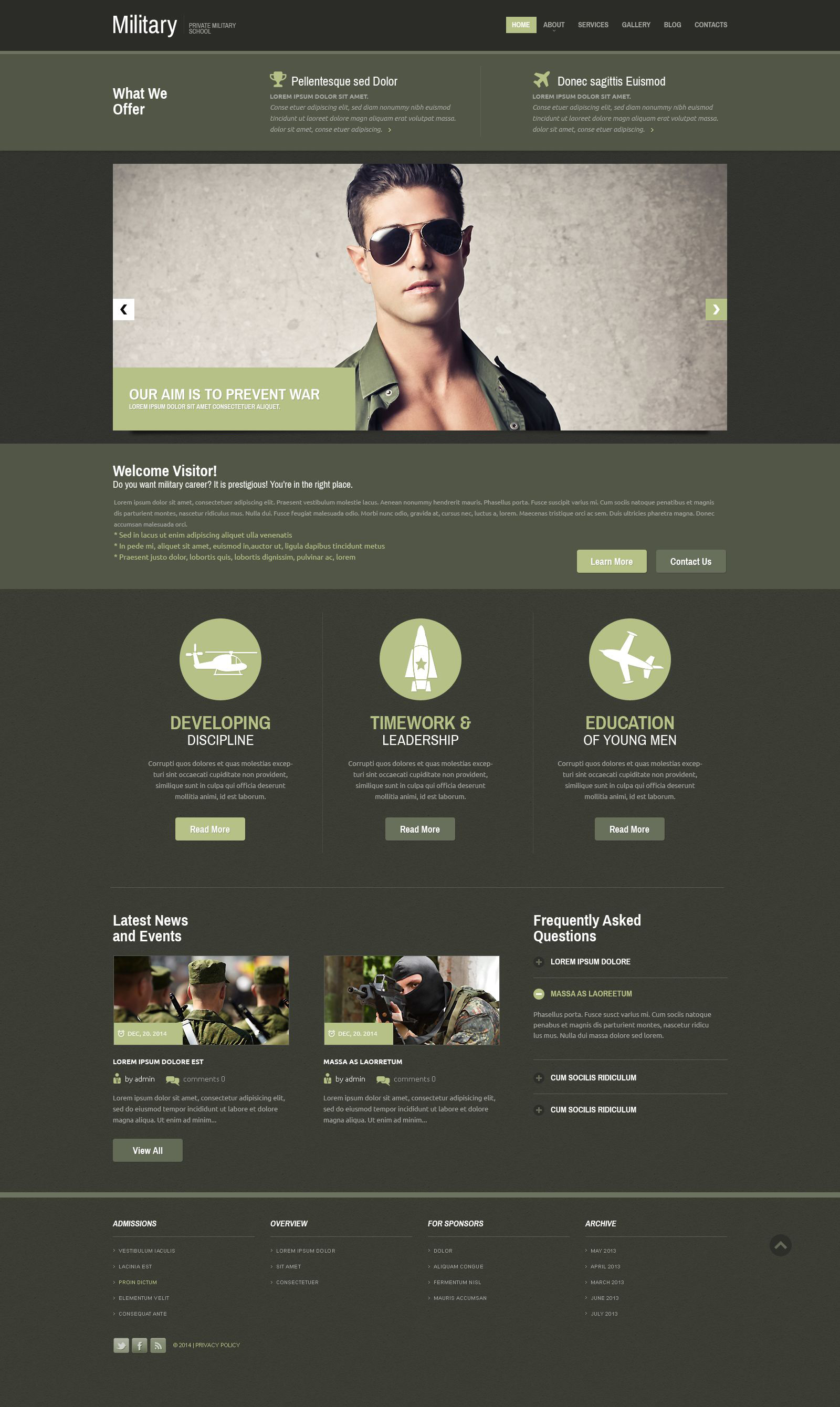 Reszponzív Katonaság Weboldal sablon 52392