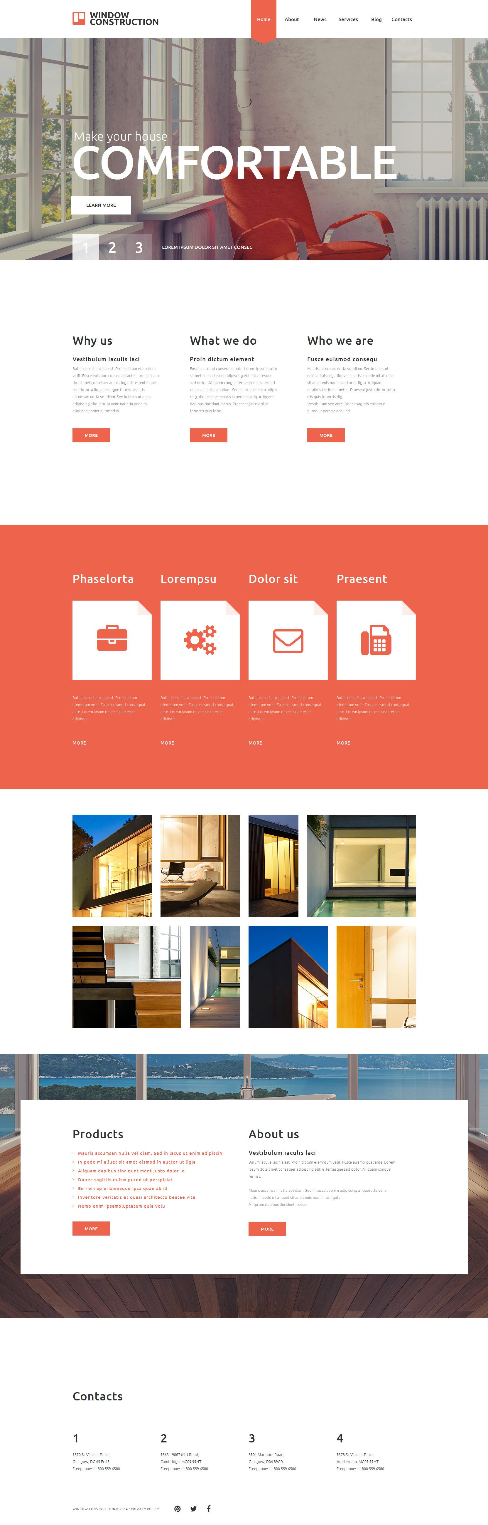 Reszponzív Window Construction Weboldal sablon 52398