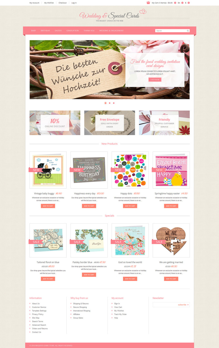 Special Occasion Cards Magento Theme New Screenshots BIG