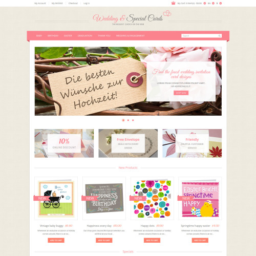 Wedding & Special Cards - Responsive Magento Template