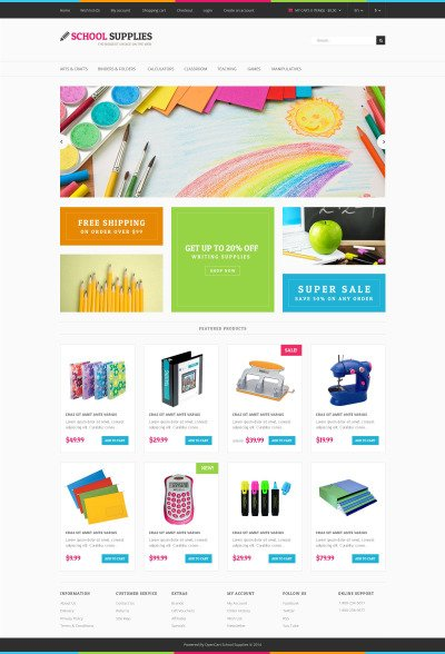 Stationery Responsive OpenCart Template #52325