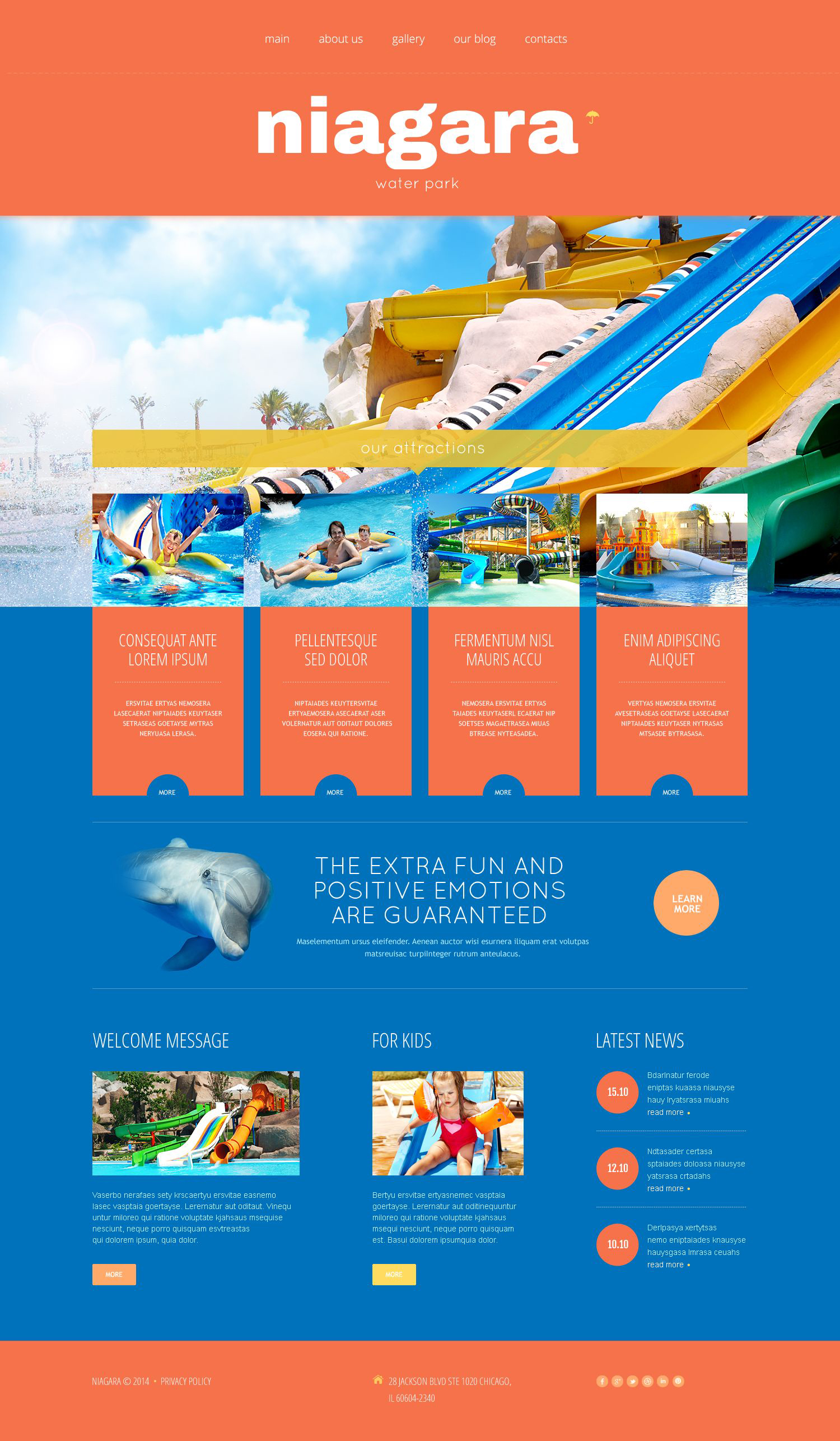 Template WordPress Responsive #52357 per Un Sito di Parco Divertimento - screenshot