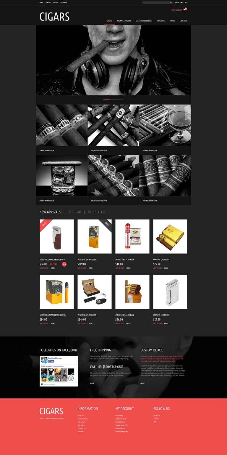 Tobacco Cigars Store PrestaShop Theme New Screenshots BIG