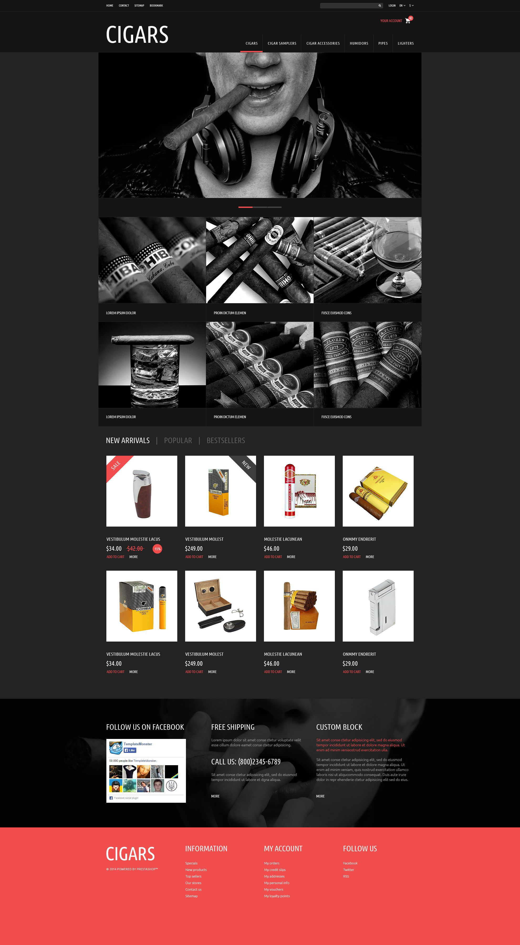 Tobacco  Cigars Store PrestaShop Theme
