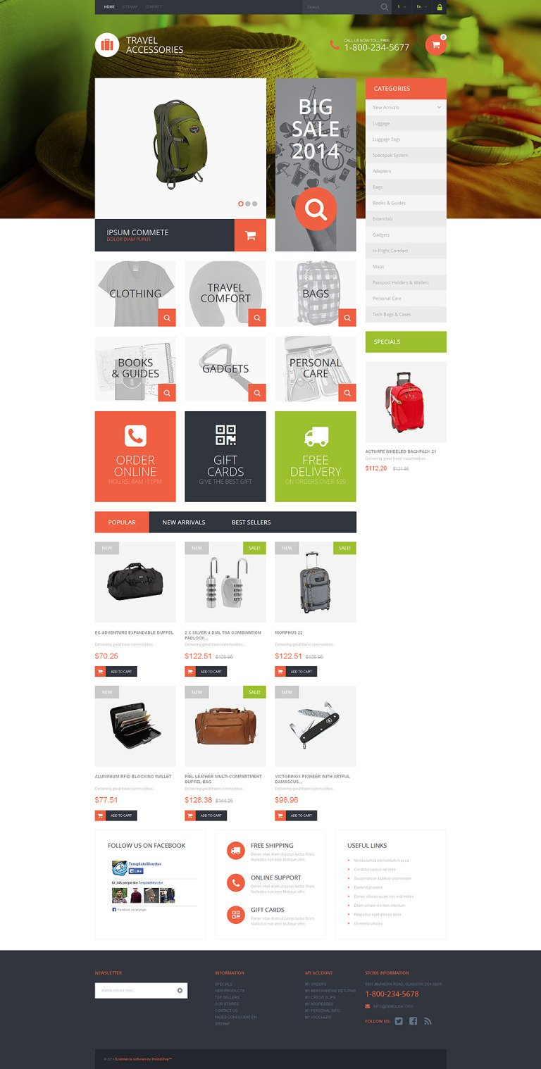 Travel Essentials PrestaShop Theme New Screenshots BIG