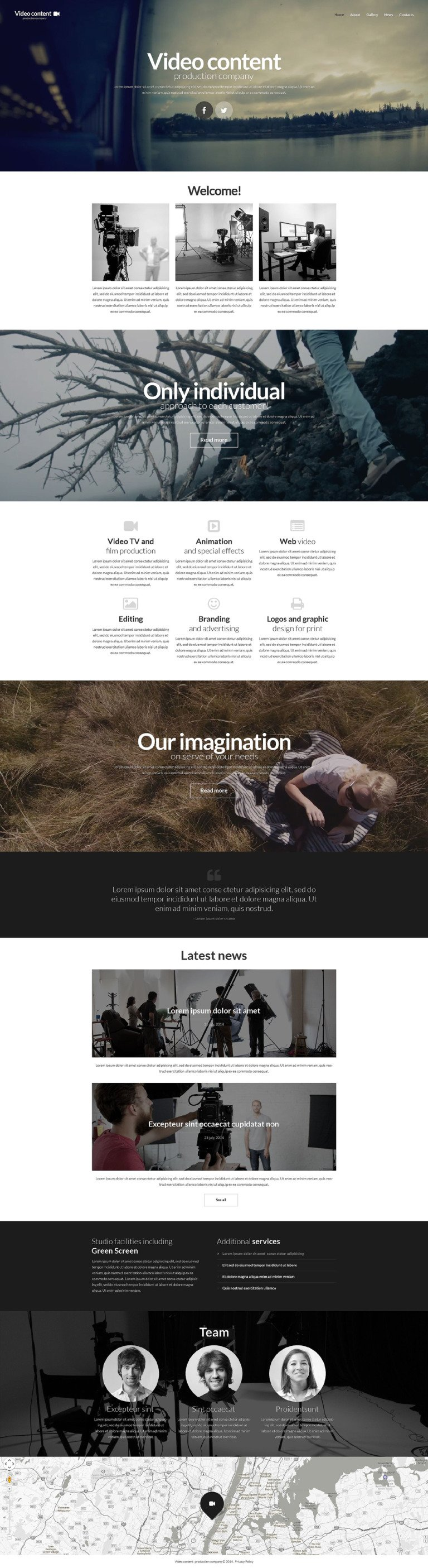 video production website template