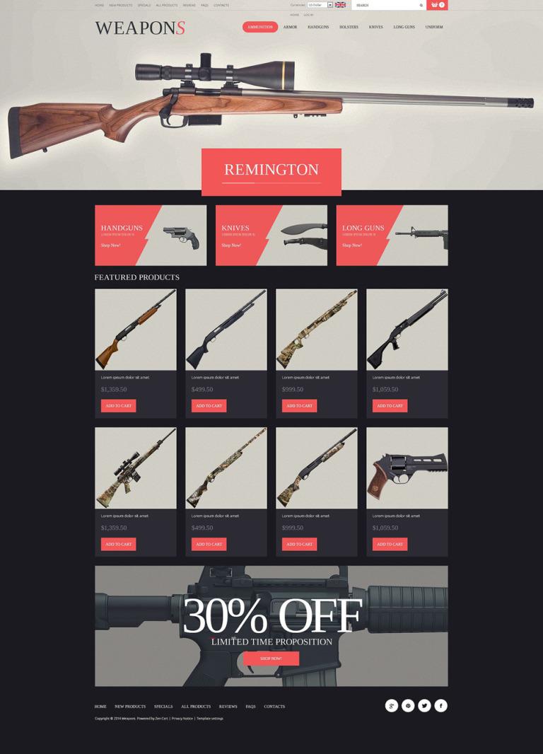 Weapon Slider ZenCart Template New Screenshots BIG