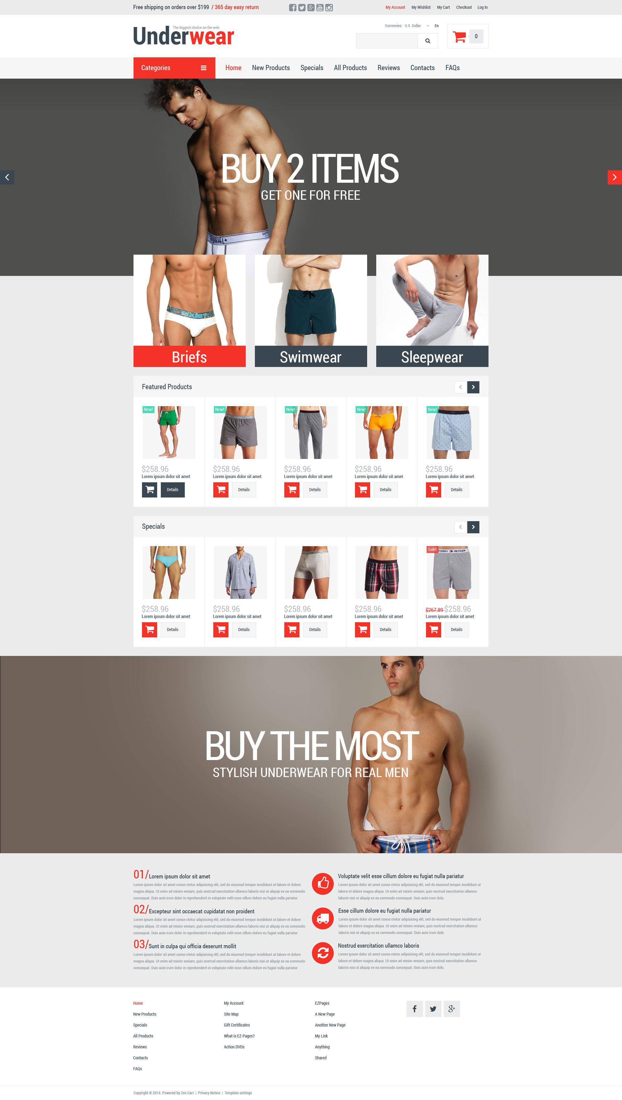 ZenCart шаблон №52368 на тему мужское белье