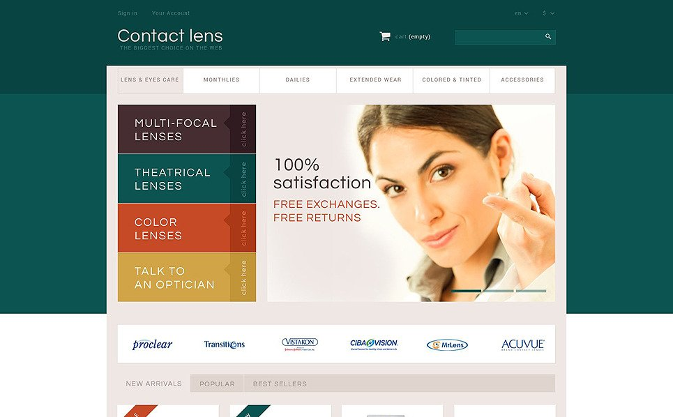 "PrestaShop Theme namens ""Kontaktlinsen Shop "" New Screenshots BIG"