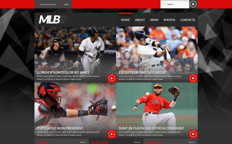 "Website Vorlage namens ""Baseball Nachrichten-Portale"" New Screenshots BIG"