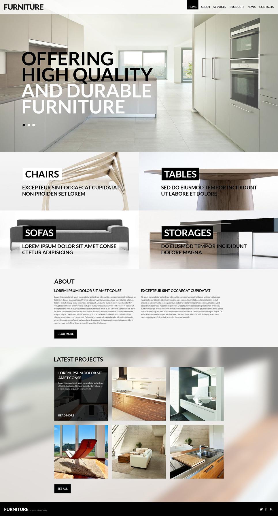 Адаптивный шаблон сайта на тему мебель #52423