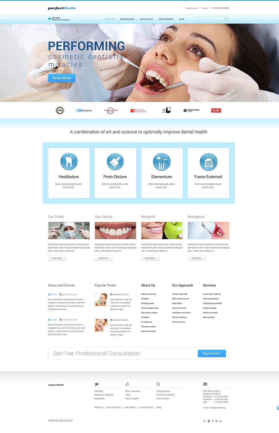 Адаптивный шаблон сайта на тему стоматология #52437