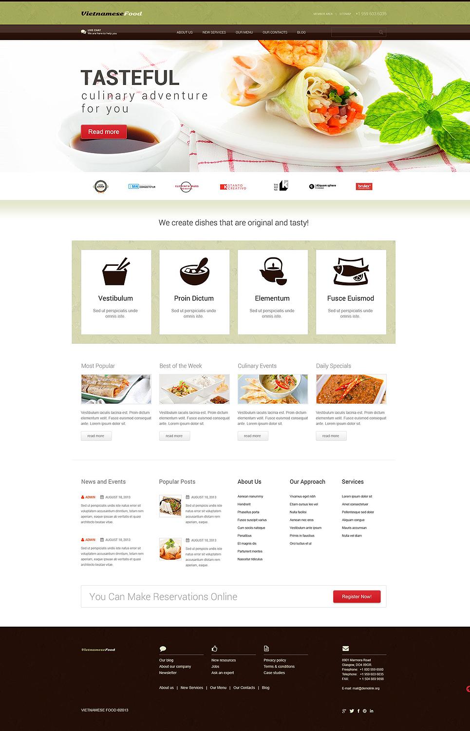 Адаптивный шаблон сайта на тему вьетнамский ресторан #52438