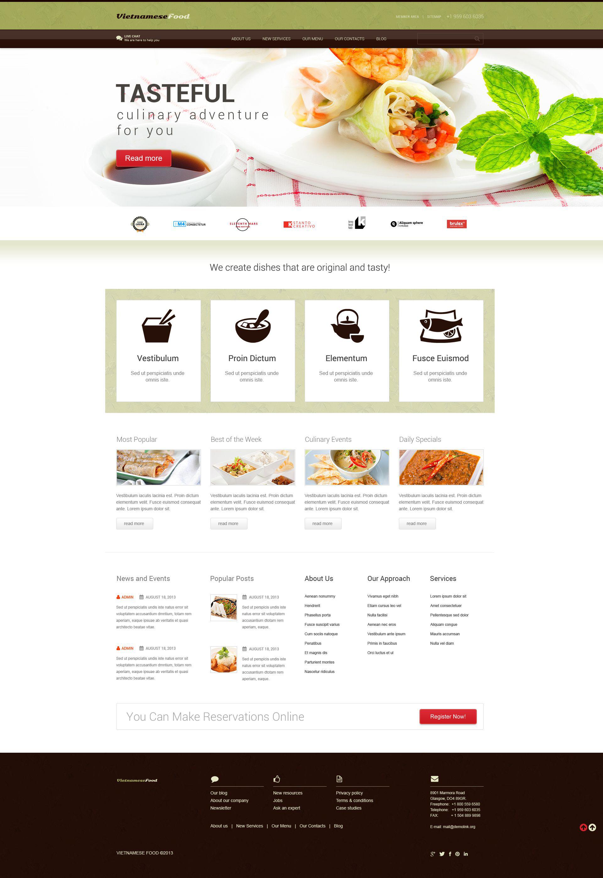 Адаптивный WordPress шаблон №52438 на тему вьетнамский ресторан