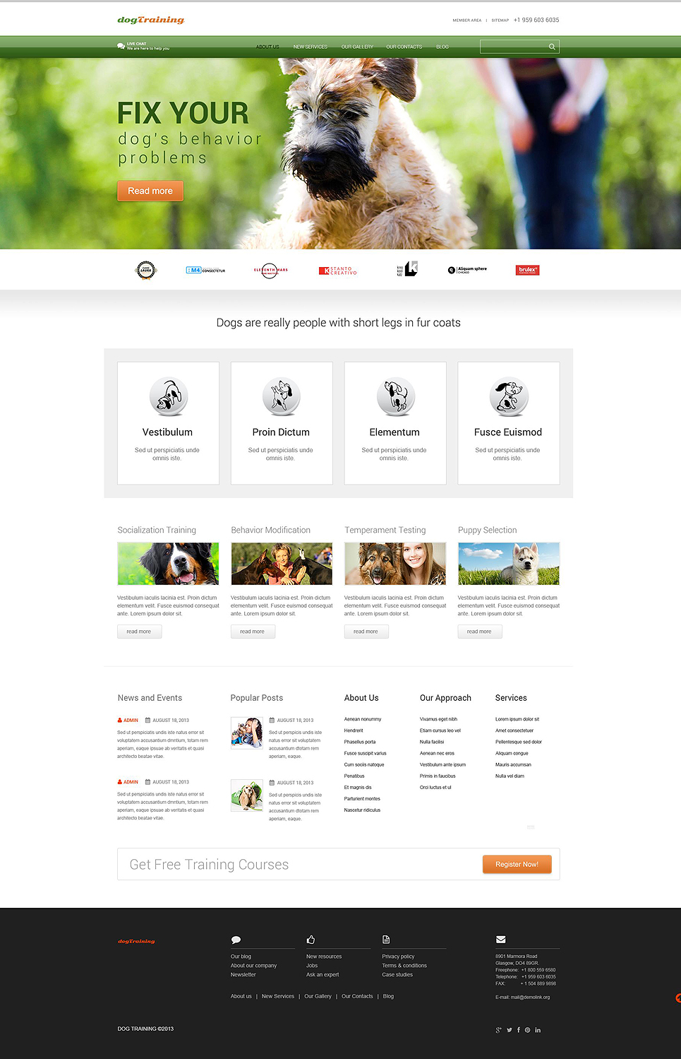 Адаптивный шаблон сайта на тему собаки #52440