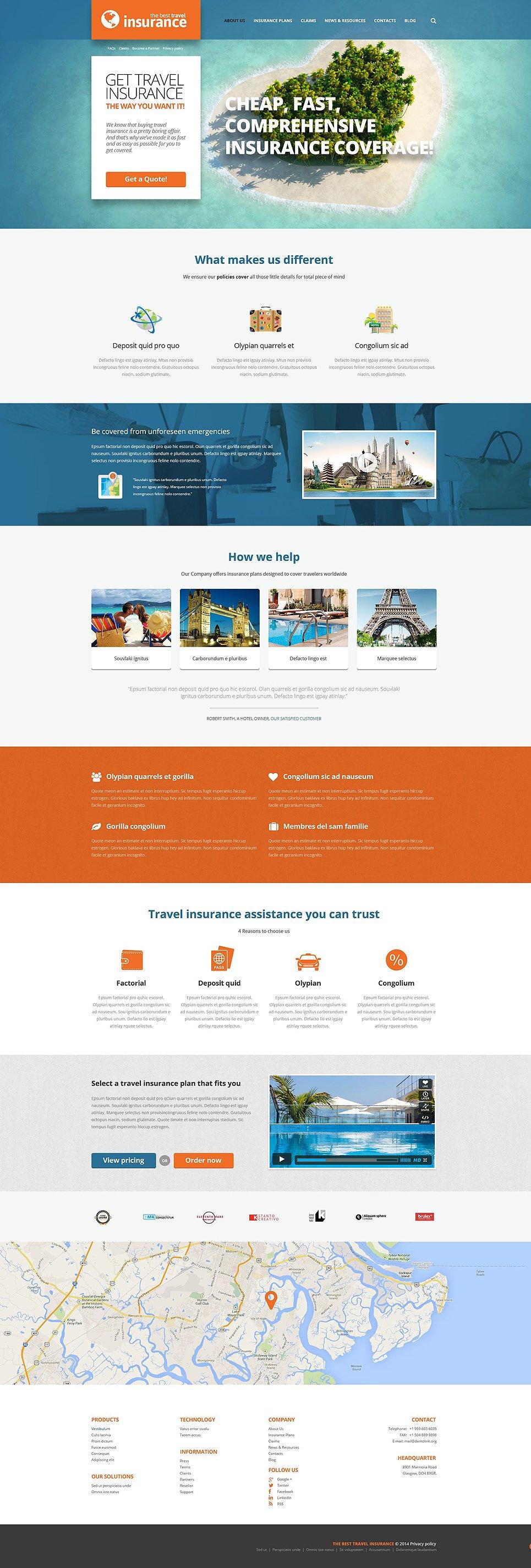 Адаптивный шаблон сайта на тему страховая компания #52441