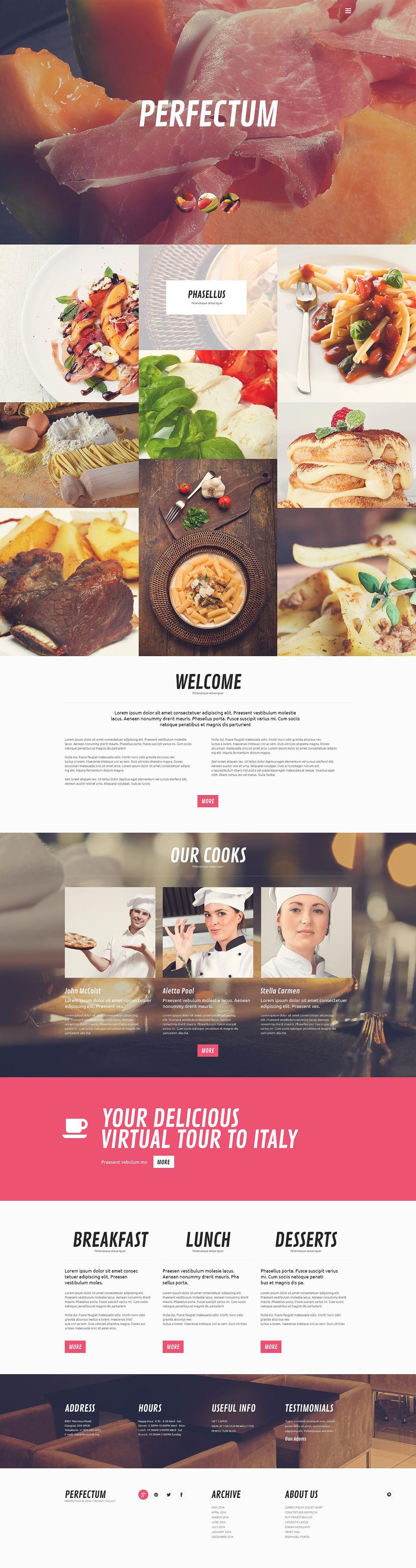 Адаптивный шаблон сайта на тему европейский ресторан #52443