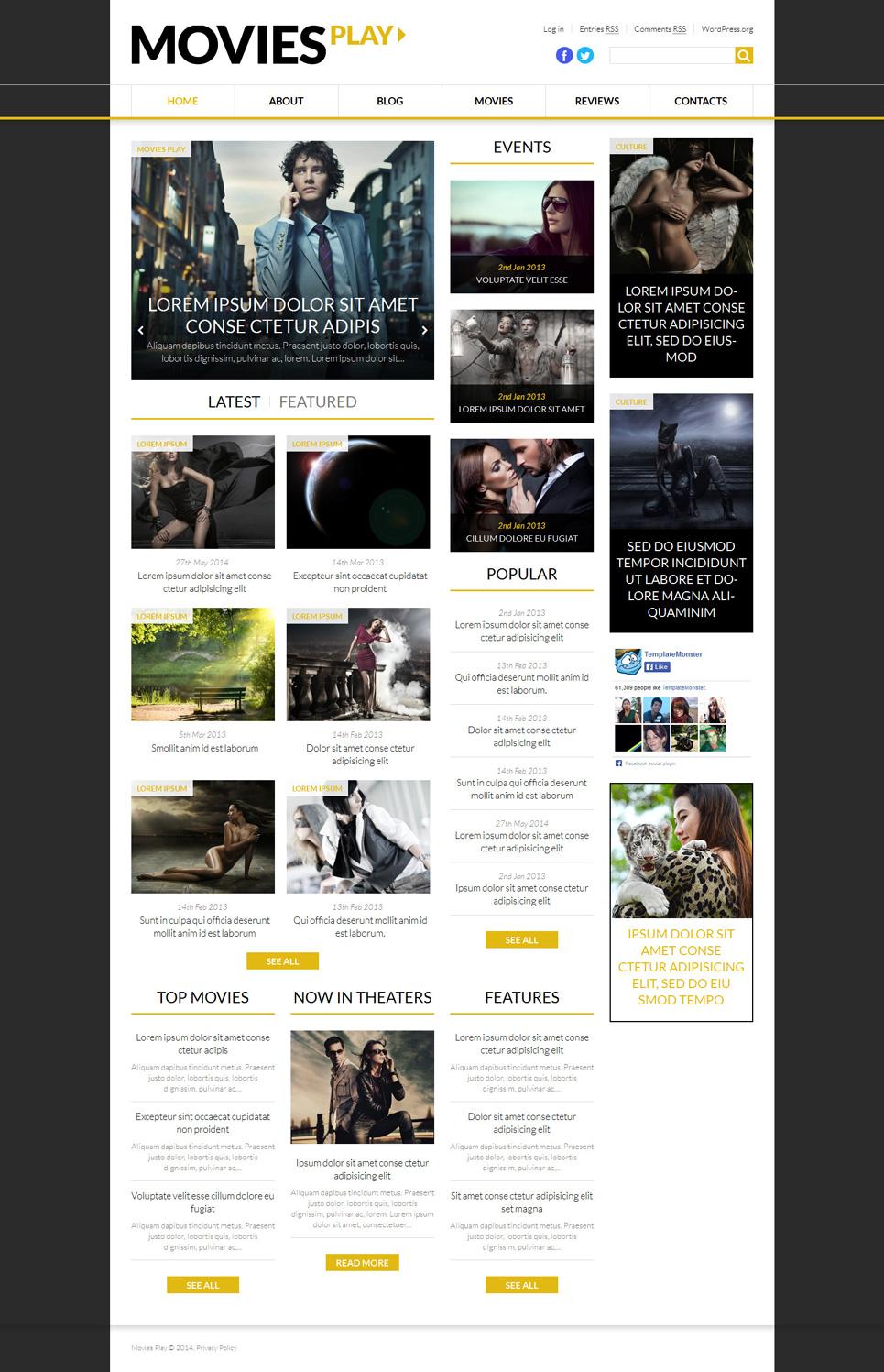 Адаптивный шаблон сайта на тему кино #52460