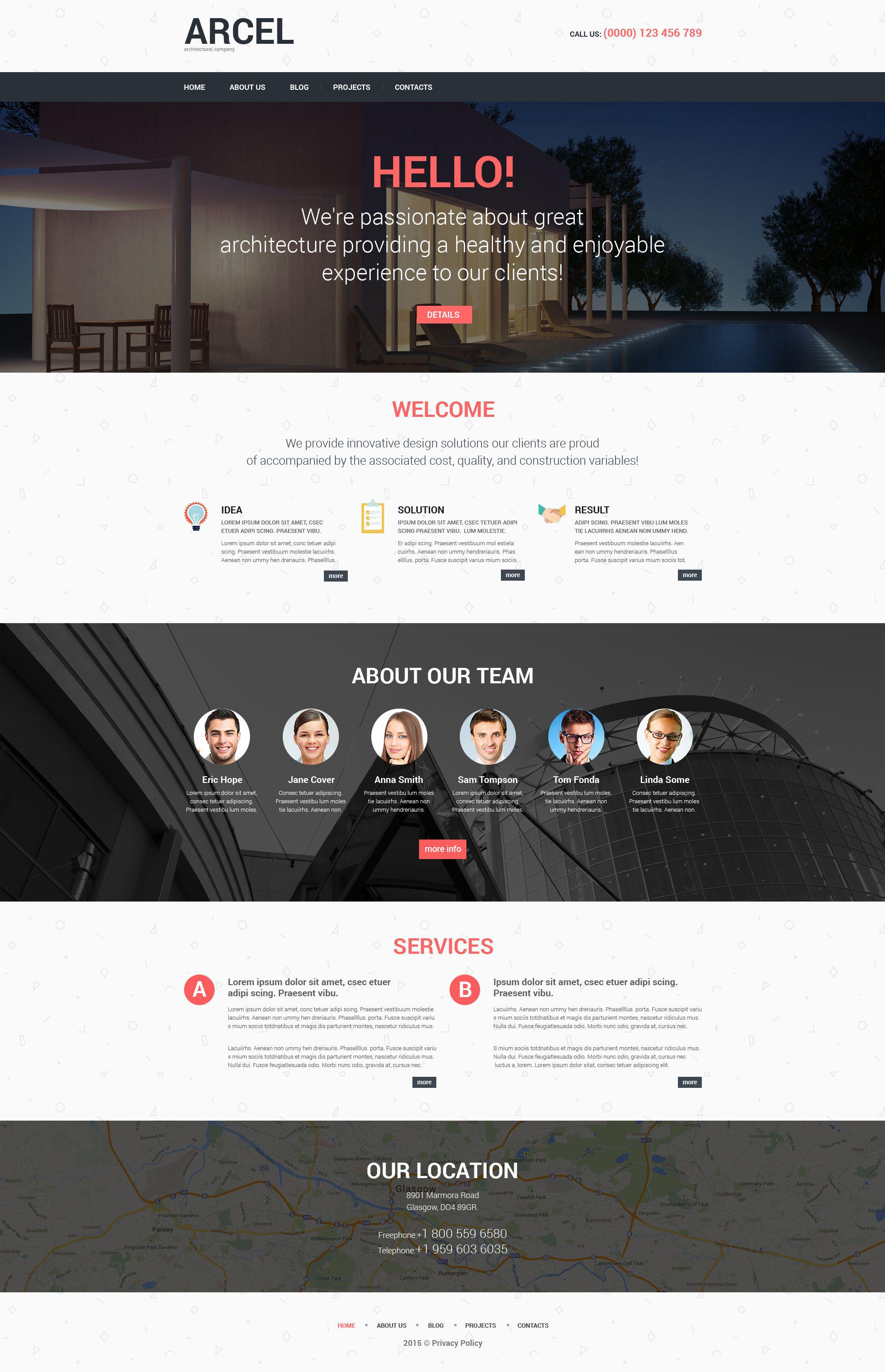 Адаптивный WordPress шаблон №52466 на тему архитектура - скриншот