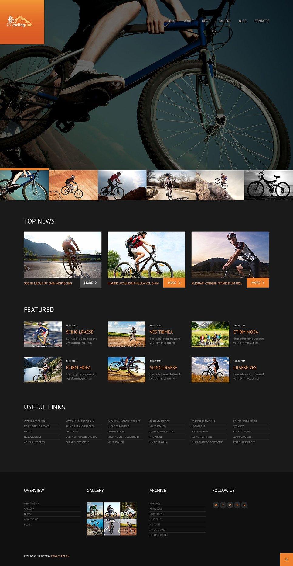 Адаптивный шаблон сайта на тему велоспорт #52475