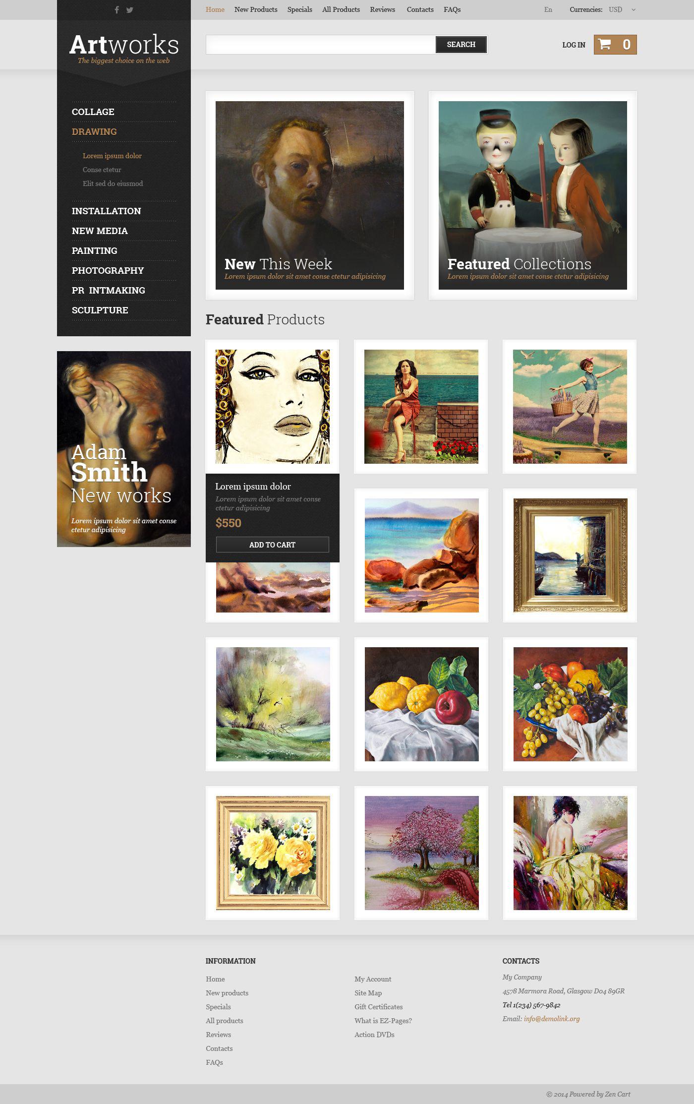 Art Store ZenCart Template